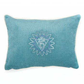 Chakra Kissen Türkisblau Chakra Symbol Kehlchakra