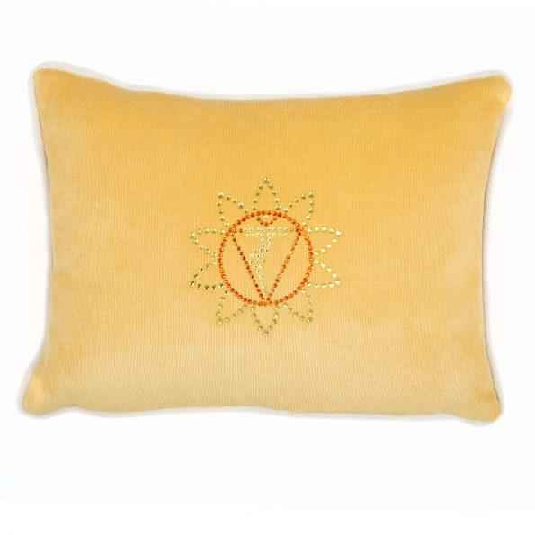 Chakra Kissen Gelb mit Chakra Symbol Manipura