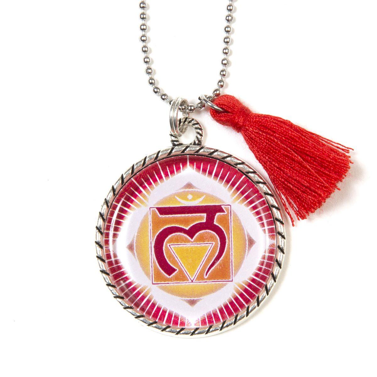 Chakra Halskette Wurzelchakra Symbol