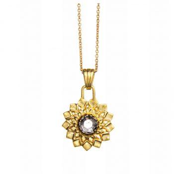 Chakra Kettenanhänger Kronenchakra gold Bergkristall
