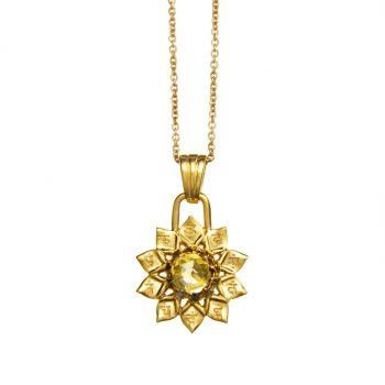 Chakra Kettenanhänger Nabelchakra gold Zitrin
