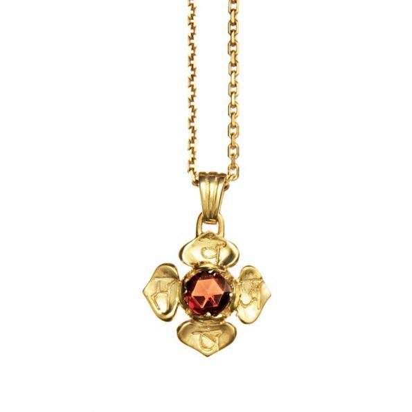 Chakra Kettenanhänger WurzelChakra mit Granat 18 Karat vergoldet
