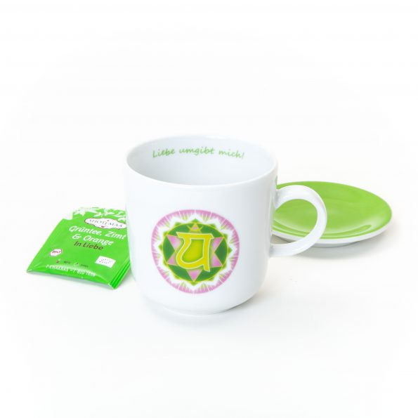 Chakra Tasse im Set grün-rosa Herzchakra Symbol