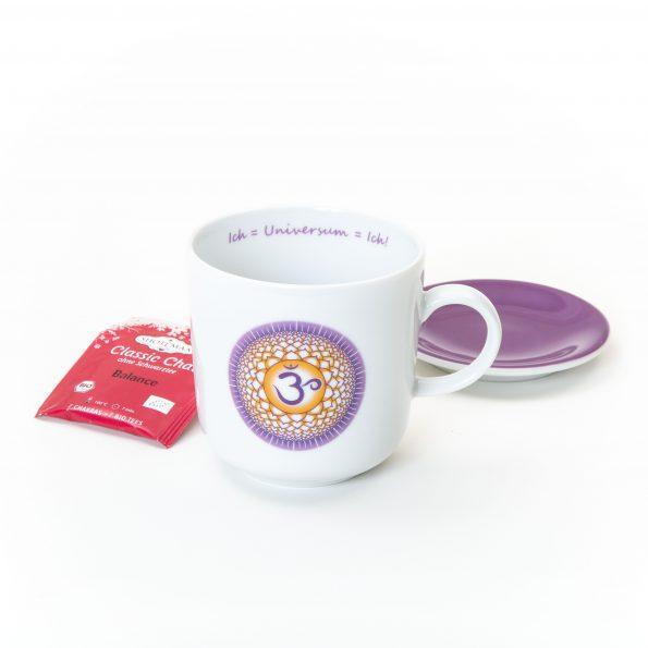 Chakra Tasse im Set violett goldgelbes Kronenchakra Symbol