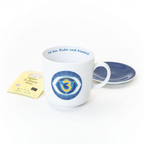 Chakra Tasse im Set dunkelblaues Stirnchakra Symbol