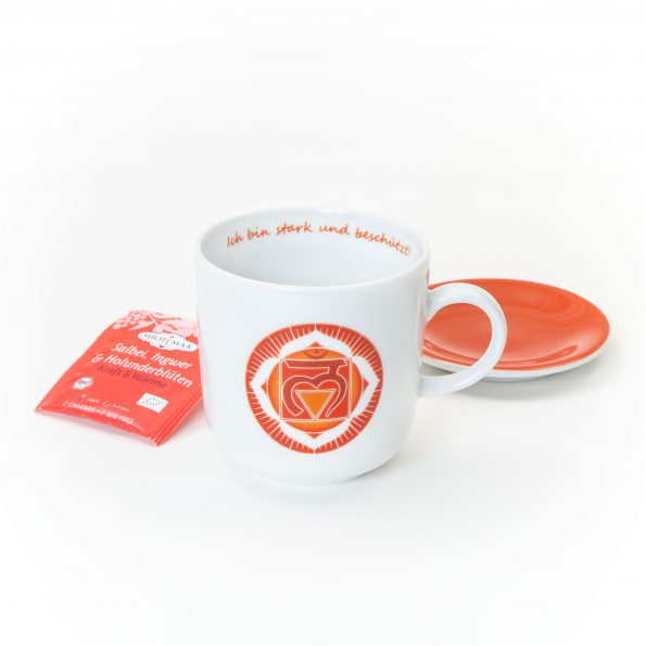 Chakra Tasse im Set rotes Wurzelchakra Symbol