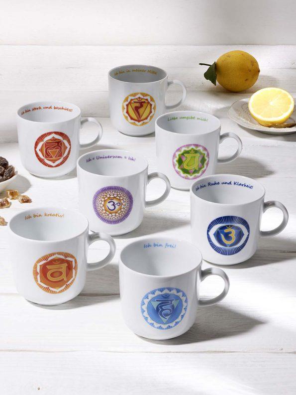 Sieben Chakra Symbole im 7er Chakra Tassen Set