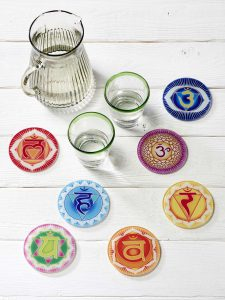 Chakra Untersetzer alle 7 Chakra Symbole