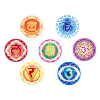 Chakra Untersetzer alle 7 Chakren Symbole
